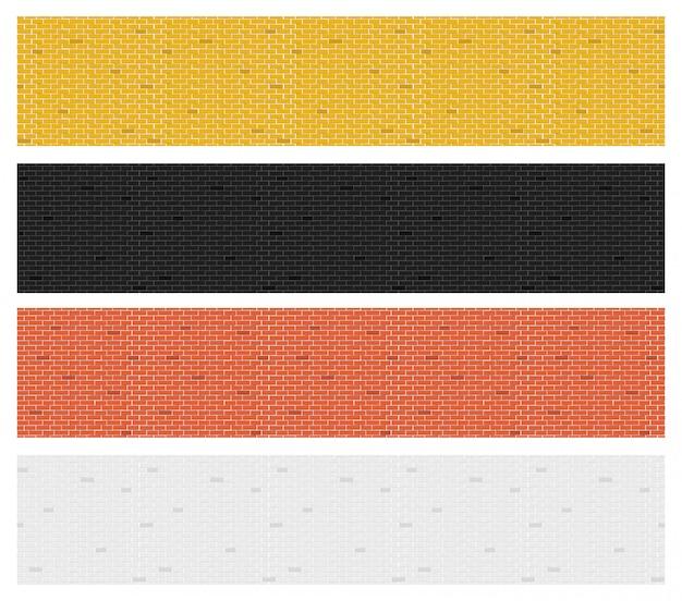 Collezione di texture di mattoni colorati.