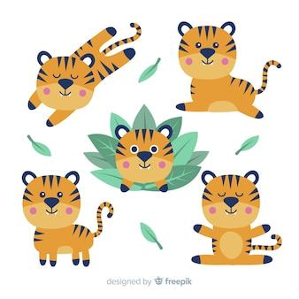 Collezione di tigre selvaggia disegnata a mano