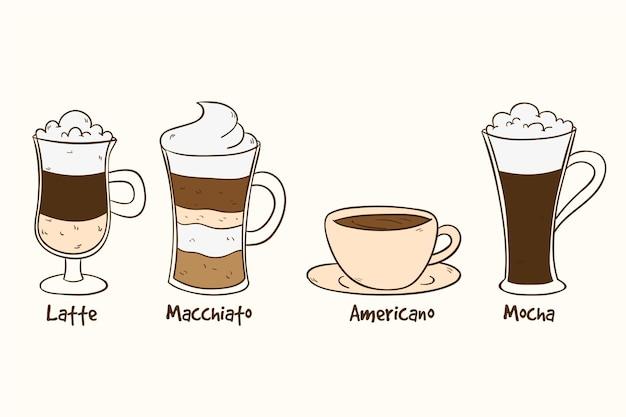 Collezione di tipi di caffè
