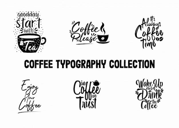 Collezione di tipografia caffè per la decorazione del caffè
