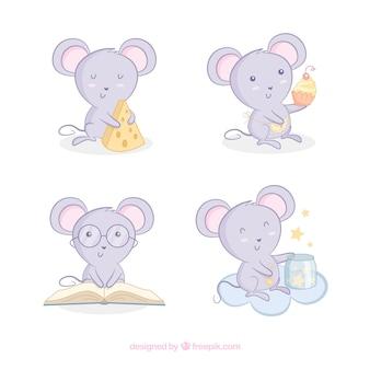 Collezione di topi cartoon