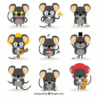 Collezione di topi divertenti cartoon