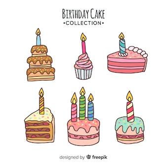 Collezione di torta di compleanno disegnata a mano