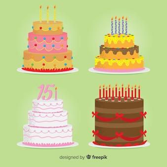 Collezione di torte di compleanno piatte