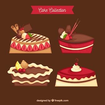 Collezione di torte disegnata in stile disegnato a mano