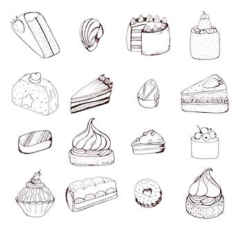 Collezione di torte disegnate a mano e caramelle al cioccolato