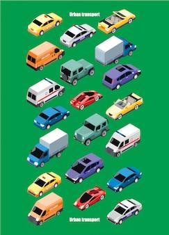 Collezione di trasporti urbani isometrici