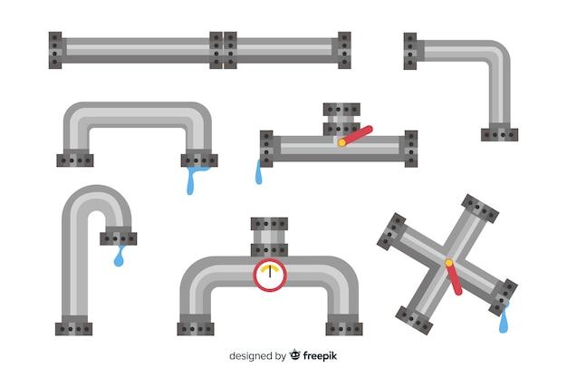 Collezione di tubi metallici con acqua dal design piatto