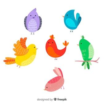 Collezione di uccelli autunnali disegnati a mano