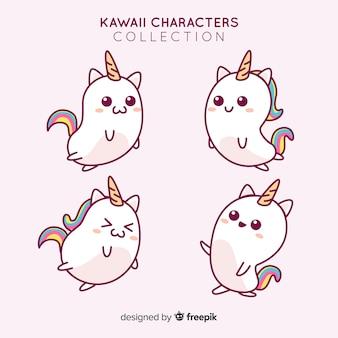 Collezione di unicorni adorabili disegnati a mano