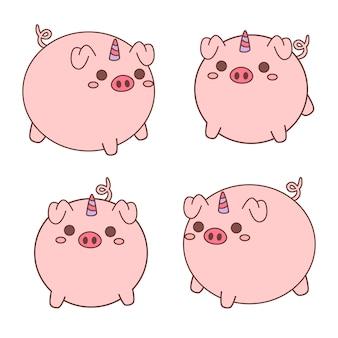 Collezione di unicorno di maiale