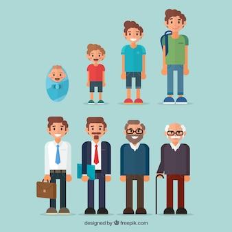Collezione di uomini in epoche diverse