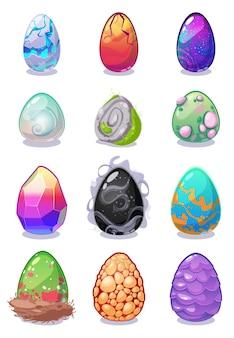 Collezione di uova colorate drago magico per game design.