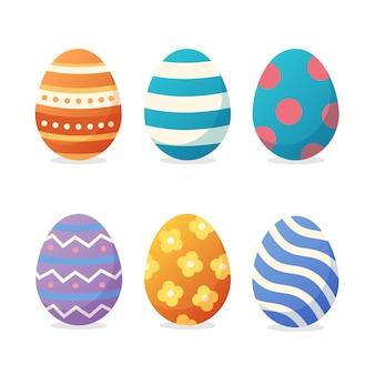 Collezione di uova colorate giorno di pasqua