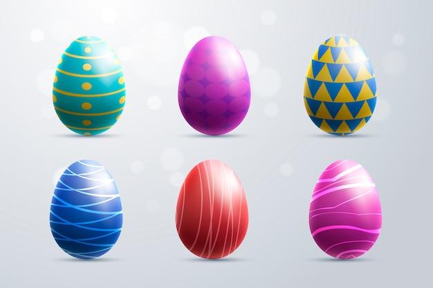 Collezione di uova colorate realistiche di giorno di pasqua