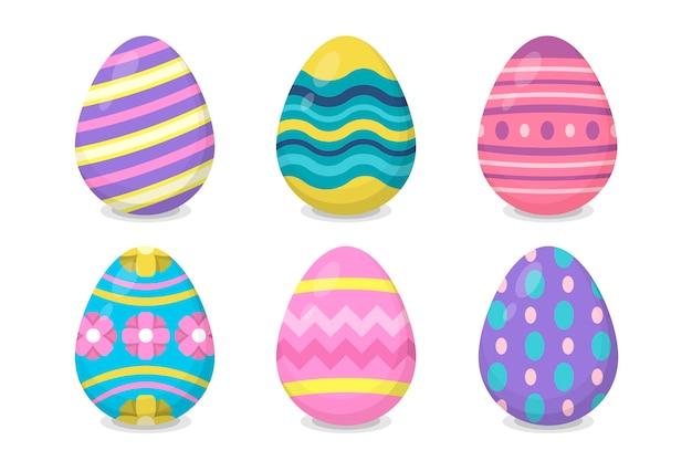 Collezione di uova di design piatto giorno di pasqua