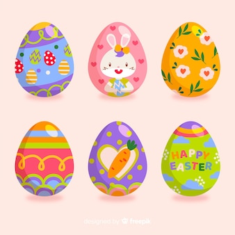 Collezione di uova di pasqua colorate