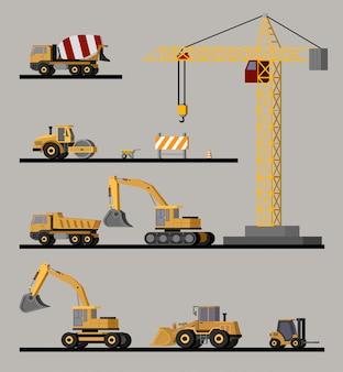 Collezione di veicoli da costruzione