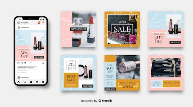 Collezione di vendita di moda astratta post di instagram
