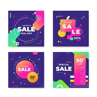 Collezione di vendita ig post colorata