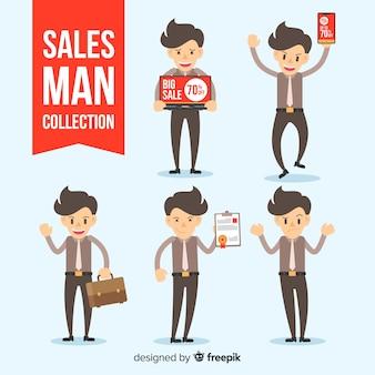 Collezione di venditori in diverse posizioni