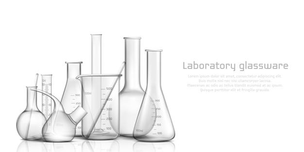 Collezione di vetreria per laboratorio chimico, biologico