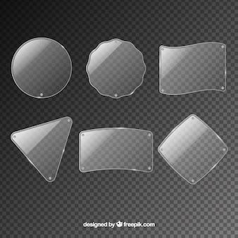 Collezione di vetro con forme diverse