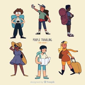 Collezione di viaggiatori dei cartoni animati