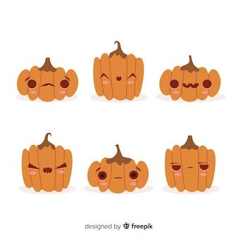 Collezione di zucca di halloween carino disegnato a mano