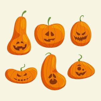 Collezione di zucca di halloween design piatto