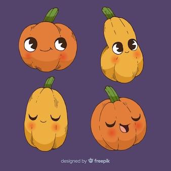 Collezione di zucca di halloween disegnata a mano bella