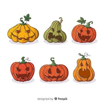 Collezione di zucca di halloween disegnata a mano