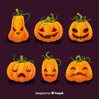 Collezione di zucca piatta di halloween