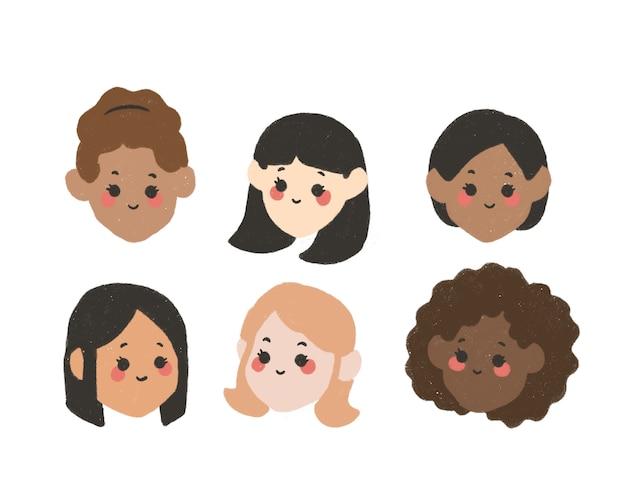 Collezione disegnata a mano carina delle donne dei capelli corti