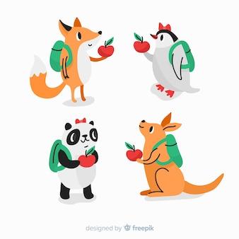 Collezione disegnata a mano con animali selvatici