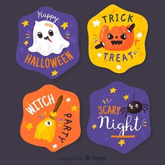 Collezione disegnata a mano dell'etichetta e del distintivo di halloween su fondo nero