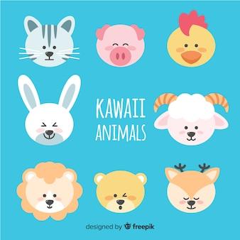 Collezione disegnata a mano di animali kawaii