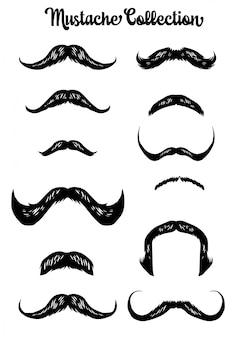 Collezione disegnata a mano di baffi