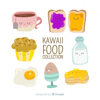 Collezione disegnata a mano di cibo kawaii