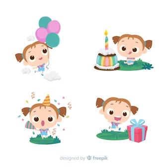 Collezione disegnata a mano di compleanno ragazza