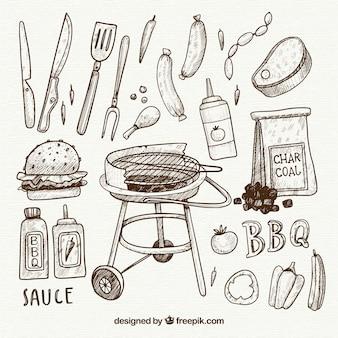 Collezione disegnata a mano di elementi di barbecue in stile semplice
