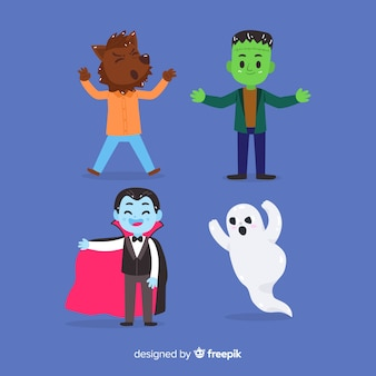 Collezione disegnata a mano di famosi personaggi di halloween