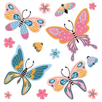 Collezione disegnata a mano di farfalle, insetti, fiori e piante isolato su sfondo bianco