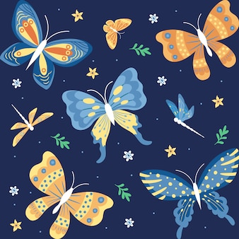Collezione disegnata a mano di farfalle, insetti, fiori e piante isolato su sfondo blu scuro