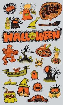 Collezione disegnata a mano di giorno di halloween