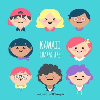 Collezione disegnata a mano di personaggi kawaii