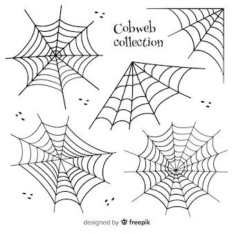 Collezione disegnata a mano di ragnatele di halloween