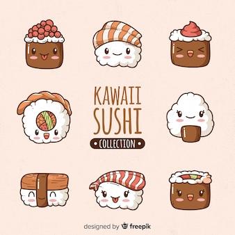 Collezione disegnata a mano di sushi kawaii
