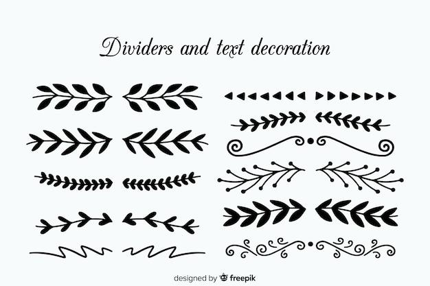 Collezione disegnata a mano divisore ornamentale