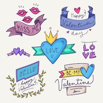 Collezione disegnata a mano etichetta / distintivo di san valentino